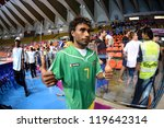 Small photo of BANGKOK,THAILAND-NOVEMBER 09: James Egeta of Solomon Islands celebrates during the FIFA Futsal World Cup between Solomon Islands and Guatemala at Indoor Stadium Huamark on Nov 9, 2012 in,Thailand.