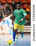 Small photo of BANGKOK,THAILAND-NOV09:James Egeta of Solomon Islands(green)run with the ball during the FIFA Futsal World Cup between Solomon Islands and Guatemala at Indoor Stadium Huamark on Nov9,2012 in,Thailand.