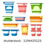 set of yogurt containers.... | Shutterstock .eps vector #1196425123