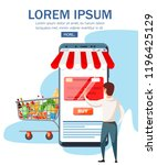 big smartphone with mobile app... | Shutterstock .eps vector #1196425129