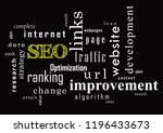 seo collage of words on black... | Shutterstock .eps vector #1196433673