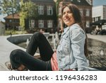 young pretty woman tourist in... | Shutterstock . vector #1196436283
