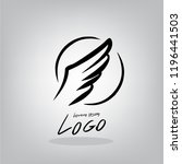 logo wing  draw by hand | Shutterstock .eps vector #1196441503