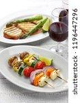 halloumi cheese vegetables... | Shutterstock . vector #1196447296