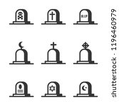 cemetery crosses and... | Shutterstock .eps vector #1196460979