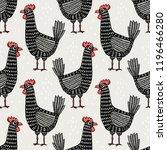 seamless pattern with chicken.... | Shutterstock .eps vector #1196466280