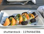 summer grilled peaches and... | Shutterstock . vector #1196466586