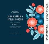 folk florals wedding invitation.... | Shutterstock .eps vector #1196469436