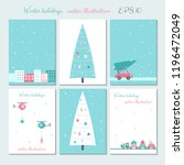 christmas city decoration cards ... | Shutterstock .eps vector #1196472049