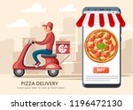 smiling pizza delivery courier...   Shutterstock .eps vector #1196472130