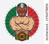 vintage mexican wrestler design ... | Shutterstock .eps vector #1196478856