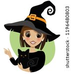 cute witch pointing to your... | Shutterstock .eps vector #1196480803