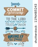 hand lettering commit your way... | Shutterstock .eps vector #1196485243