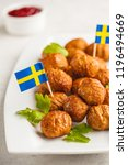 swedish traditional meatballs...   Shutterstock . vector #1196494669