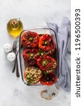 ready baked stuffed peppers in... | Shutterstock . vector #1196500393