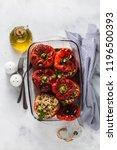 ready baked stuffed peppers in... | Shutterstock . vector #1196500393