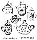 christmas teapot and cup hot... | Shutterstock .eps vector #1196505106