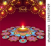 happy diwali festival card with ... | Shutterstock .eps vector #1196513929