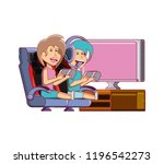 young couple playing video game | Shutterstock .eps vector #1196542273