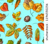 seamless pattern with autumn... | Shutterstock .eps vector #1196550256