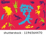 hand drawn set of colorful ink...   Shutterstock .eps vector #1196564470