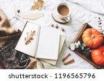 autumn breakfast in bed... | Shutterstock . vector #1196565796