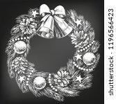 christmas wreath symbol of... | Shutterstock .eps vector #1196566423
