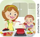 two confectioners  mum and... | Shutterstock .eps vector #119657428
