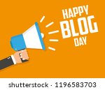 holiday blog day. megaphone... | Shutterstock .eps vector #1196583703