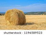 round haystack in field after...   Shutterstock . vector #1196589523