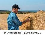 man agronomist in a cap in a...   Shutterstock . vector #1196589529