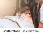 cute asian little child girl... | Shutterstock . vector #1196594263