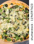 homemade vegan pizza with... | Shutterstock . vector #1196597623