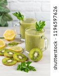 a freshly prepared smoothie of... | Shutterstock . vector #1196597626