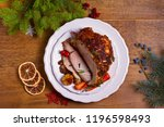 baked ham with vegetables ... | Shutterstock . vector #1196598493