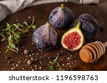 fresh figs. whole figs and... | Shutterstock . vector #1196598763