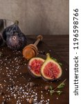 fresh figs. whole figs and... | Shutterstock . vector #1196598766