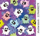 texture funny ghosts. halloween ... | Shutterstock .eps vector #1196608279