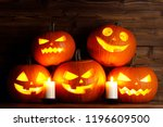 group of halloween pumpkin head ... | Shutterstock . vector #1196609500