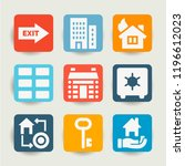set of 9 house filled icons... | Shutterstock . vector #1196612023