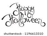 happy halloween text. hand... | Shutterstock .eps vector #1196613310