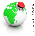 green earth globe with red alarm button - stock photo