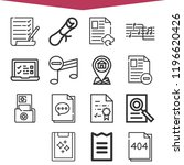 set of 16 note outline icons... | Shutterstock . vector #1196620426