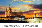 Prague Castle At Sunset   Czec...