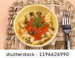 pasta dish with tomato sauce | Shutterstock . vector #1196626990