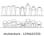 cute dogs and cats looking up... | Shutterstock .eps vector #1196631520