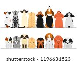 cute dogs and cats looking up... | Shutterstock .eps vector #1196631523