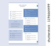 modern cv resume template vector | Shutterstock .eps vector #1196664499