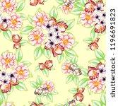 flower print in bright colors.... | Shutterstock .eps vector #1196691823