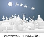 santa claus on sleigh and... | Shutterstock .eps vector #1196696050